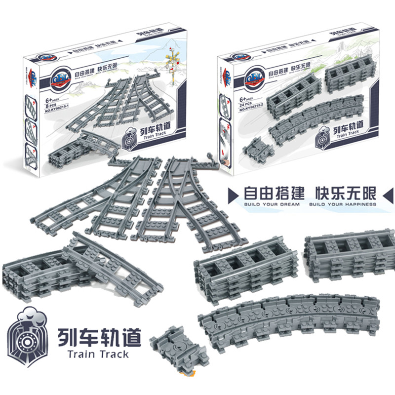 Train Track Building Blocks Streight and Curve Track Rail Toys for Children Compatible Lepin Train lepin 21006 compatible builder the maersk train 10219 building blocks policeman toys for children