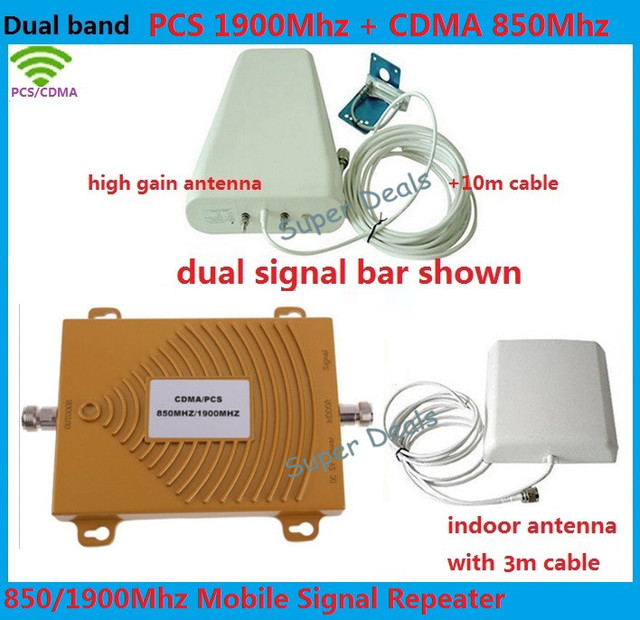 De alta ganancia de Doble banda CDMA 850 Mhz + PCS 1900 Mhz Celular KIT amplificador de Señal de teléfono Móvil repetidor de Señal amplificador de señal Doble bar