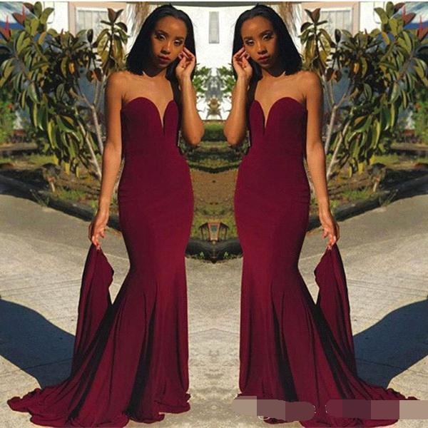 Cheap Burgundy Mermaid Evening Dresses Sweetheart Black Girls Special Occasion Formal dress African Prom Gown robe de soiree