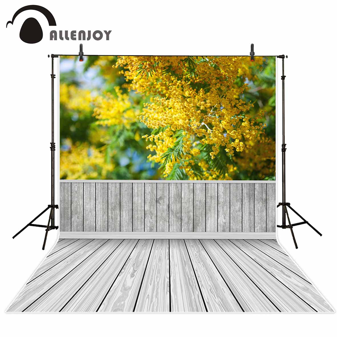 Allenjoy Yellow flowers wood floor spring background for children photo booth backdrop vinyl backdrops for photography allenjoy photography backdrops love white wood board floor red hearts branches valentine s day wedding photo booth profissional