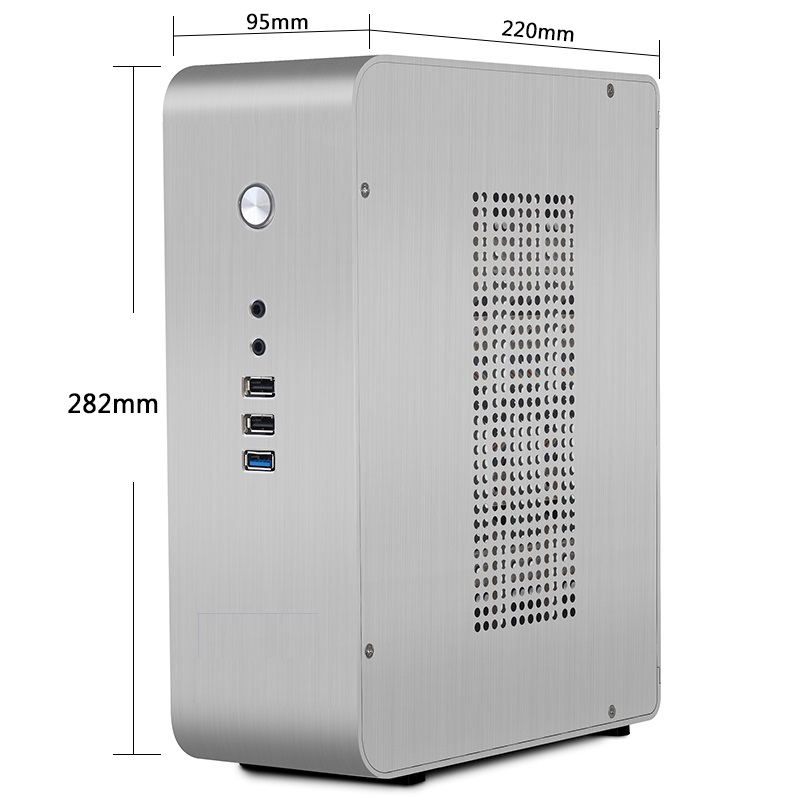 Silver Desktop aluminum computer small chassis Vertical desktop ITX small chassis Optional 1U power supply realan aluminum mini itx desktop pc case e i7 with power supply cd rom slots black silver