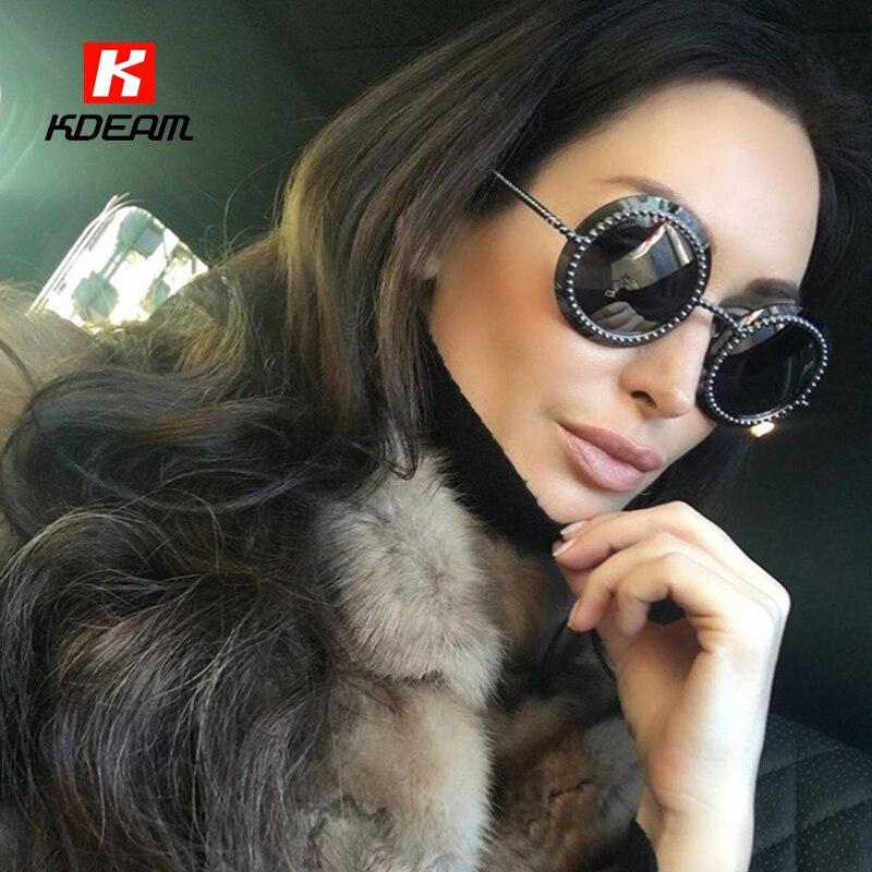Modern Shield Silhouette Round Sunglasses Women Sunspot Stud Sun Glasses Metallic-rose Crystal Sunglass With Case lunette