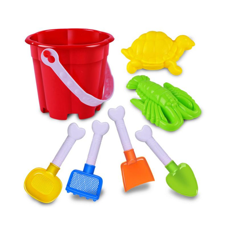 7Pcs Kids Beach Toys Castle Bucket Spade Shovel Rake Water L412