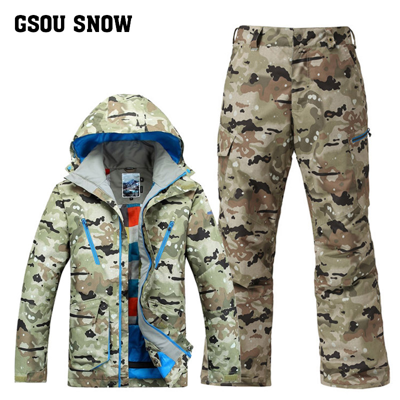 GSOU SNOW Camouflage Skiing Suit Mens Outdoors Windproof Waterproof Ski Jacket Ski Pants Winter Warm Skiing Slothes For MenGSOU SNOW Camouflage Skiing Suit Mens Outdoors Windproof Waterproof Ski Jacket Ski Pants Winter Warm Skiing Slothes For Men