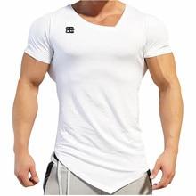 New Design Male Novelty Summer Bodybuilding and Fitness Mens  Short Sleeve T-shirt GymS Shirt The milk silk Oblique v-neck