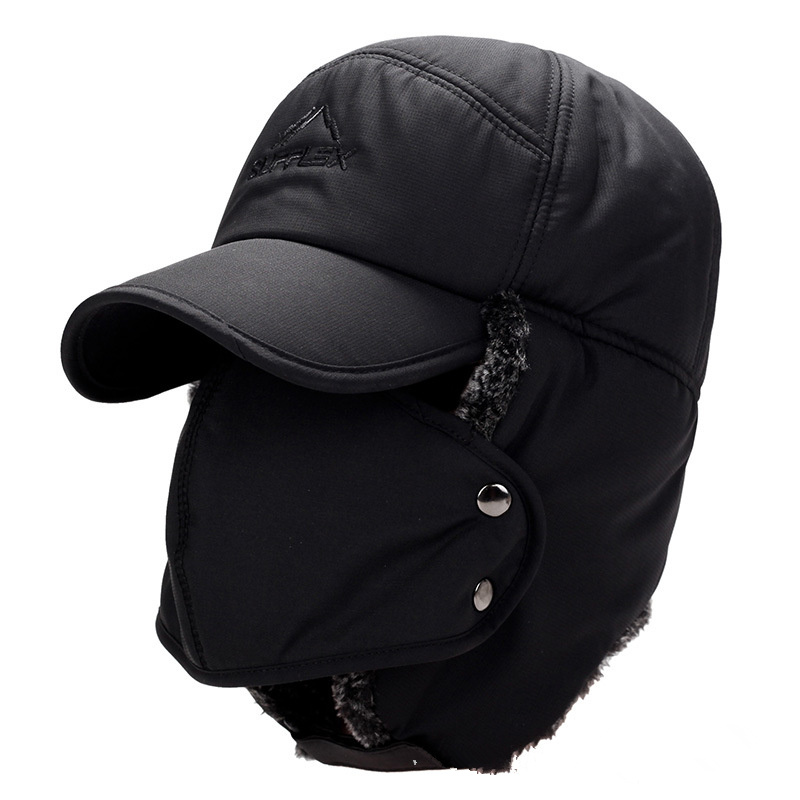 Mask Cap Flaps Bomber-Hats Winter Women Warm Ear Scarf-Set Cycle Neck-Thicken Plush Breathable