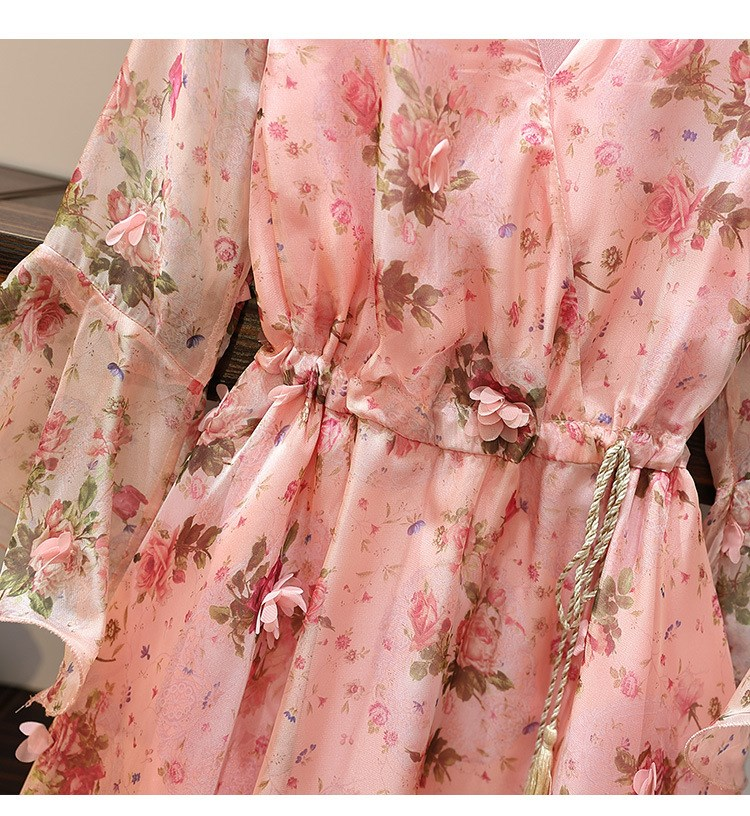 Women V-Neck Floral Appliques Chiffon Dress 2019 Summer Flare Sleeve Belt Flower Print Dress Empire Plus Size Mini Dresses 45