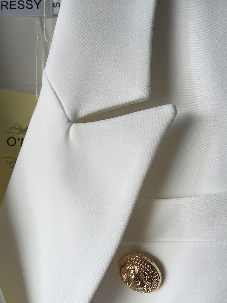 WYSOKA JAKOŚĆ Nowe Mody 2016 Runway Style damskie Złote Guziki Podwójne Piersi Marynarka Odzież Wierzchnia Plus rozmiar S-XXL 5