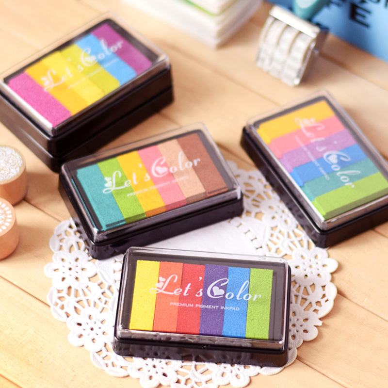 1pc Safety Non-Toxic Ink Pad Creative Rainbow Color Inkpad Rubber Stamp Oil Based For Children's Finger Print DIY Art Kids Gift