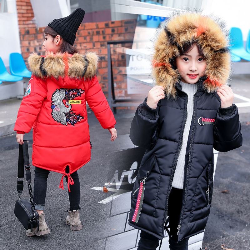 2018 Winter New Kids Down Girls Jacket Coat Thicken Long Sleeved Color Fur Collar Cartoon Solid Plug of Cotton Long Jacket цена