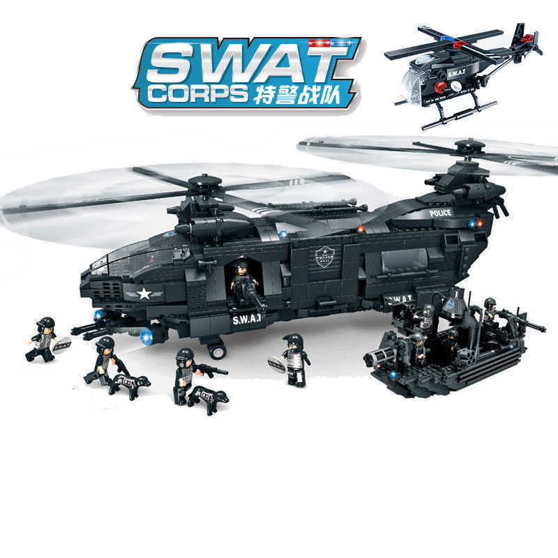 1351pcs Children s educational building blocks toy Compatible city Special police series Armed transport aircraft gifts