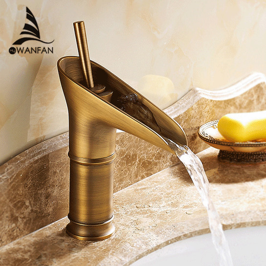 Basin Faucets Modern Antique Brass Faucets Mixer Taps Waterfall Spout Water Tap Bathroom Sink Faucet Gold