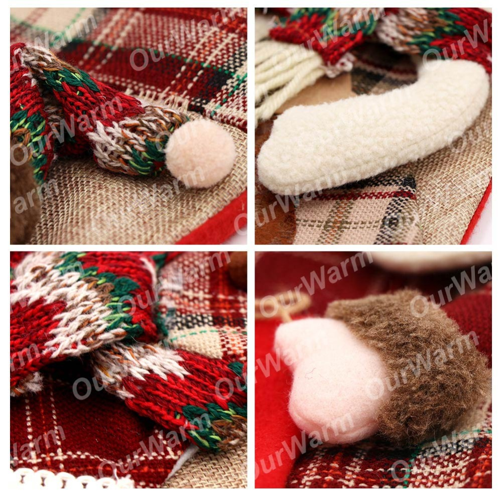 Image 4 - OurWarm Large Christmas Stocking Santa Claus Sock Plaid Burlap Gift Holder Christmas Tree Decoration New Year Gift Candy Bags-in Stockings & Gift Holders from Home & Garden