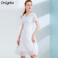 Onlyplus S XXL White Lace Cotton Dress Short Sleeve Lace hollow out dresses Women 2019 Slim Elegant Party Polka Dot Vestidos
