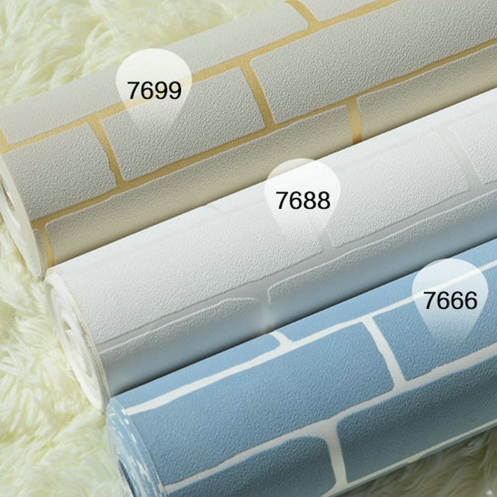 3D TV background wall paper pure white brick living room wal