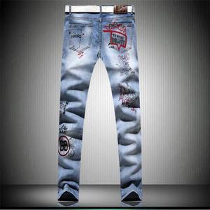 Image 2 - Jisutong Merk Winkel Nieuwe Fashion Hand Gedrukt Mannen Jeans 100% Katoen Denim Broek Witte Hoge Kwaliteit Mans Broek # a006