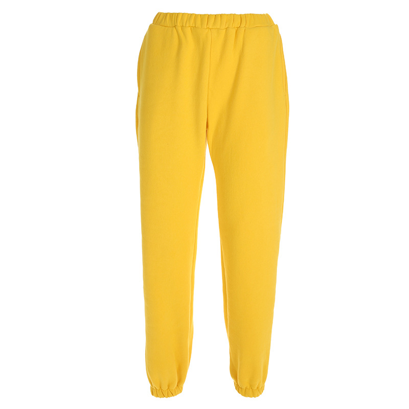 Cool Women High Waist Pants Solid Yellow Loose Joggers Female Trousers 19 Autumn Winter Track Pants Punk Capris Gray Yellow 4