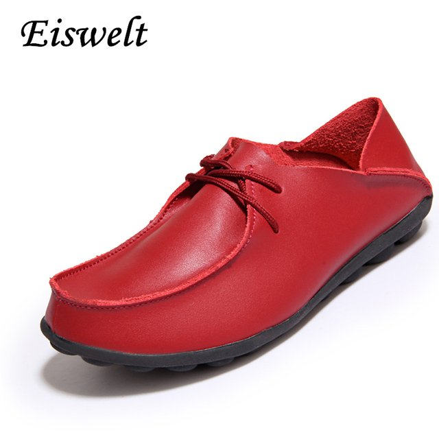 New Design 2016 Women Shoes Genuine Leather Handmade Flats Shoes Women Oxfords Casual Mother Shoes  Red#HDS117