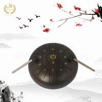 10 дюймов Сталь язык ручной Пан барабан буддийский костюм для медитации ударный инструмент беззаботной звук металла Hang Drum с голени мешок
