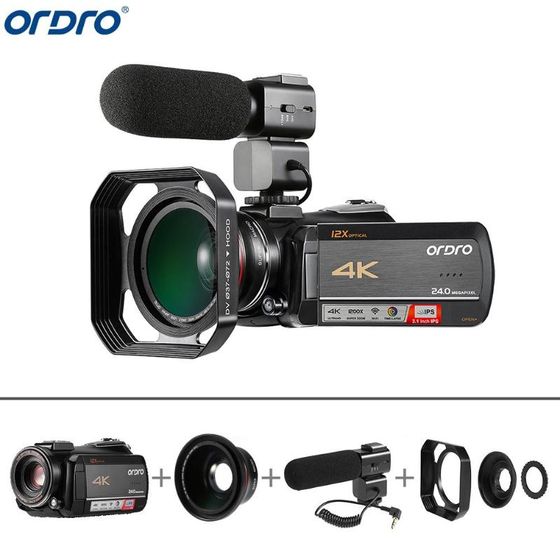 Ordro AC5 4K UHD 12X Optical Zoom Digital Cameras FHD 24MP WiFi IPS Touch Screen Camcorders
