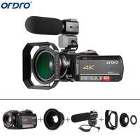 Ordro AC5 4 K UHD 12X оптический зум цифровые камеры FHD 24MP WiFi ips сенсорный экран видеокамеры + бленда объектива + широкоугольный объектив + микрофон
