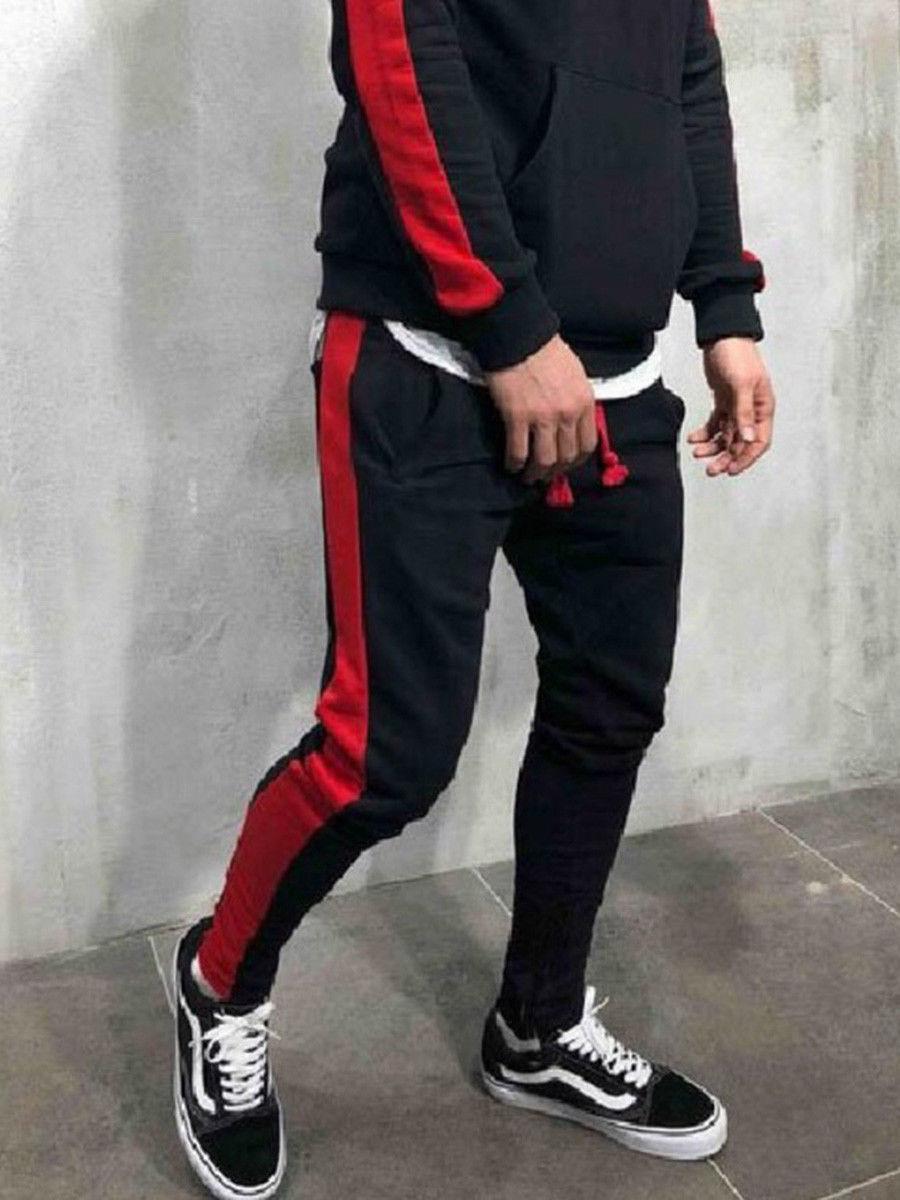 Мужские модные брюки для бега новые полосатые городские прямые повседневные брюки тонкие длинные штаны для фитнеса S-2XL - Цвет: Черный