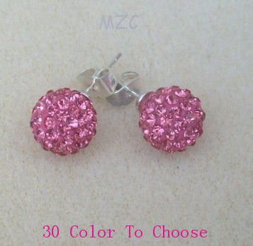 Wholesale!Free Shipping+Gift.10mm BEST Crystal Disco Ball Beads fashion Silver Plate   Earrings Stud Women Jewelry.