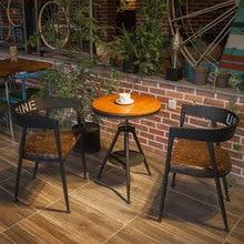 Столики для кафе мебель для кафе из цельного дерева+ Железный Круглый барный стол Маленький журнальный столик минималистичный подъемный стол 50*50*80 см/70*70*80 см