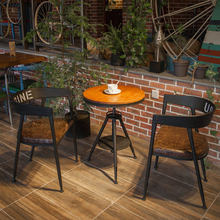 Cafe Tables Cafe Furniture solid wood +iron Bar round Table Small coffee table minimalist lifting desk 50*50*80 cm/70*70*80 cm(China)