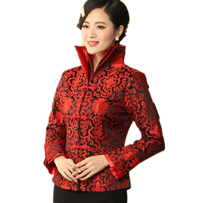 Black Red Traditional Chinese Style Womenu0026#39;s Silk Satin Jacket Coat Flowers Size S M L XL XXL ...