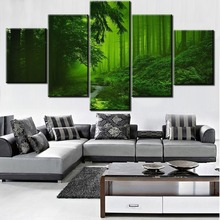 Framed 5 Panel Green Tree Forest Path Picture Modern Decorative Paintings on Canvas Wall Art for Home Decorations Decor