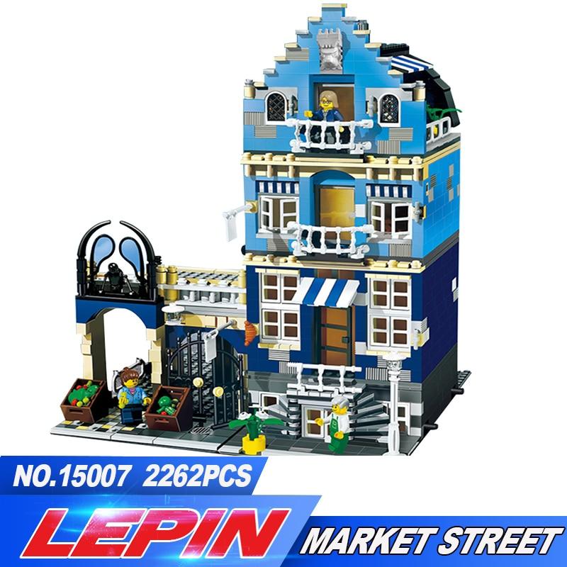 DHL Lepin 15007 Factory City Street European Market Model Building Block Set Bricks Kits DIY Compatible 10190 trendyangel 15007