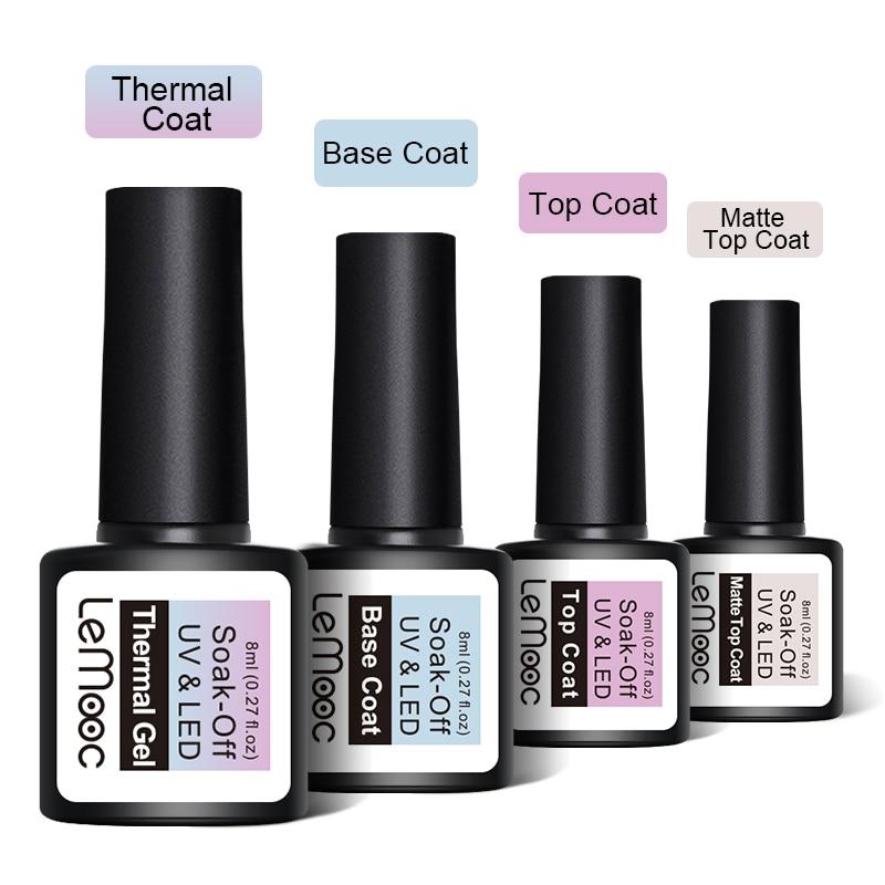 LEMOOC 8ML UV Gel Nail Polish 3 in 1 Thermal Nail Gel Polish Soak Off Semi Permanent Temperature Color Changing Gel Varnish in Nail Gel from Beauty Health