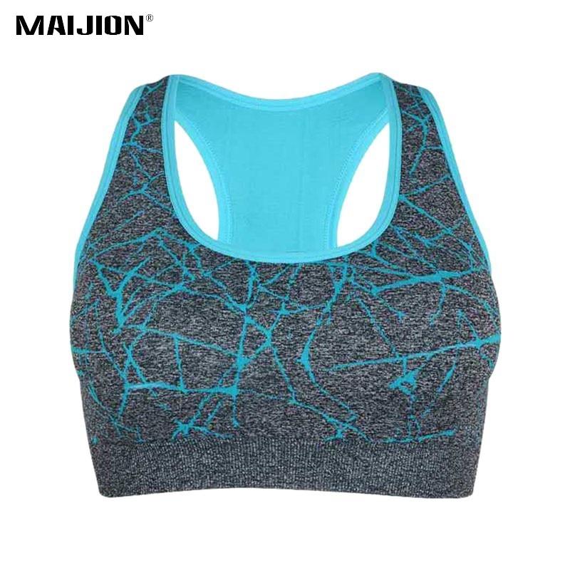 MAIJION New Women Shockproof Sports Bra, Stretch Push Up Padded Fitness Vest ,Breathable Seamless Underwear Yoga Running Tops on AliExpress