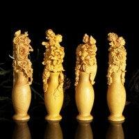 TNUKK Wood carved flower vase desktop Decoration home decorations ornaments.