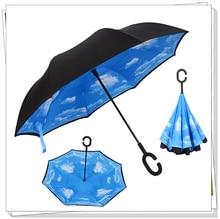 Carro Necessário Criativo Bonito Invertido Reverso Dobrar Dupla Camada À Prova de Vento Guarda-chuva Resistente Distintas C-Gancho Hands-free
