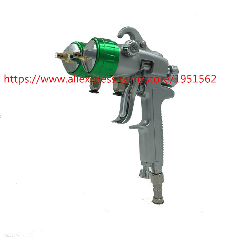 free shipping Pressure feed spray guns high quality double nozzle spray gun wall painting
