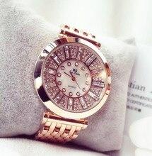 2017 marca Moda Mujeres Rhinestone Relojes de Relojes de Alta Calidad de Diamantes de Austria, de Oro rosa de Mujer Señora Vestido Reloj Relojes