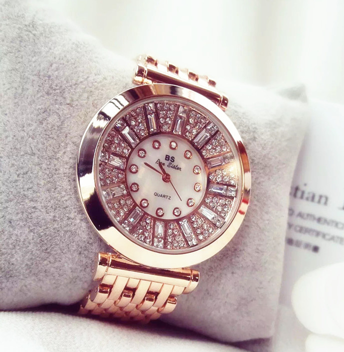 2019 brand Fashion Women Watches High Quality Austrian Diamond Women Rhinestone Watches, Rose Gold Woman Lady Dress Watch Clocks