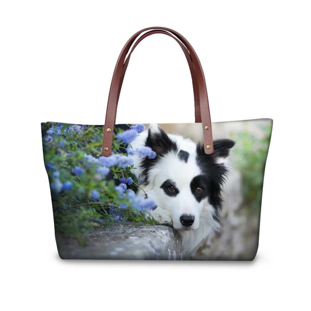 Noisydesigns Border Collie fashion 3D Customize Bags Drop Shipping Canvas Shopping Bag Women Large cool Handbags Tote Crossbody