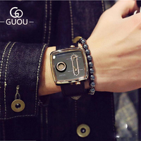 GUOU Watch Brand Top Luxury Sport Men Watch Square Double Time Fashion Military Men's Watches Clock saat relogio masculino
