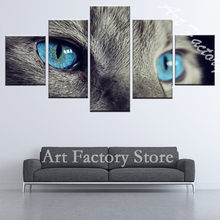 5 Panels blue eyes Cat Animal Art Pictures Great Hd Home Decoration Modern Abstract Wall China Oil Painting Canvas Painting art(China)