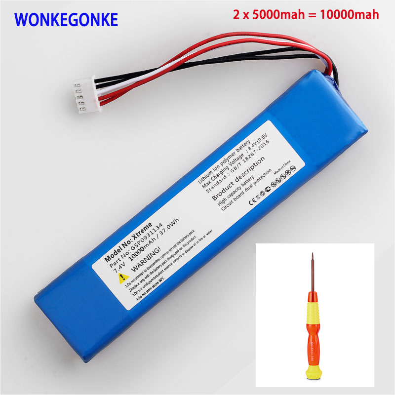 1pcs WONKEGONKE 10000mah 37.0Wh for JBL Xtreme GSP0931134 Batterie tracking number