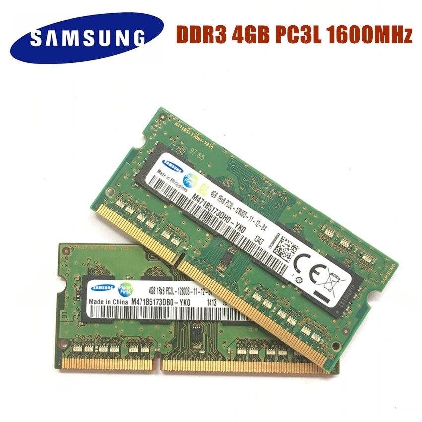 SAMSUNG 4G 1RX8 DDR3 PC3L 12800S 1600Mhz 4gb 4G pc3l Memória Portátil 12800S 1600 MHZ Módulo Notebook SODIMM RAM ddr3 4gb