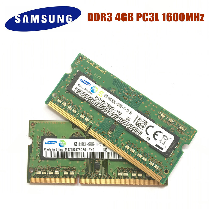 SAMSUNG 4G 1RX8 PC3L 12800S DDR3 1600Mhz 4gb Laptop Memory 4G Pc3l 12800S 1600 MHZ Notebook Module SODIMM RAM  Ddr3 4gb