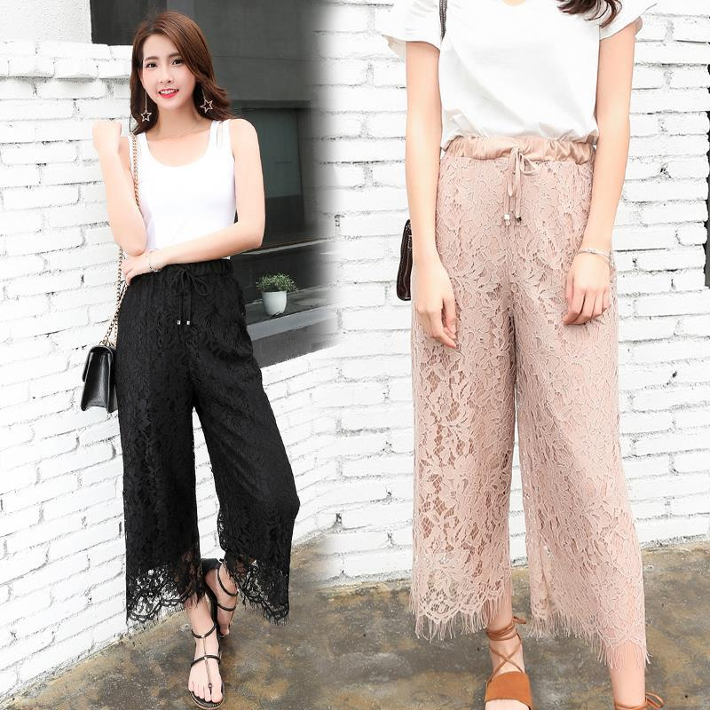 Women's Clothing Women Lace Ninth Pants Korea Style Hot Sale Hollow Out Wide Leg Trousers Apricot Pink Gray Black Loose Tassel Skirts Pants Femme Delicacies Loved By All Pants & Capris