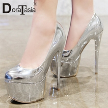 DoraTasia 2019 New Big Size 33-48 Fashion Shallow Thick Platform Women Shoes Spring Sexy Thin High Heels Party Shoes Woman Pumps bonjomarisa new women s genuine leather square high heels metal decoration shoes woman fashion spring pumps big size 33 43