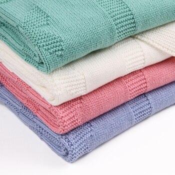 Infantil Cobertor Do Bebê Para Recém-nascidos Macio Criança Kid Envoltório Swaddling Cobertores de Cama Flor de Malha Crianças Carrinho De Criança Lençóis 95*75 cm