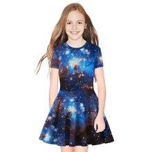 купить Summer Dress Girl Star Print Dress Teen Princess Party Dress Fashion Short Sleeve Dress 8T-11T дешево