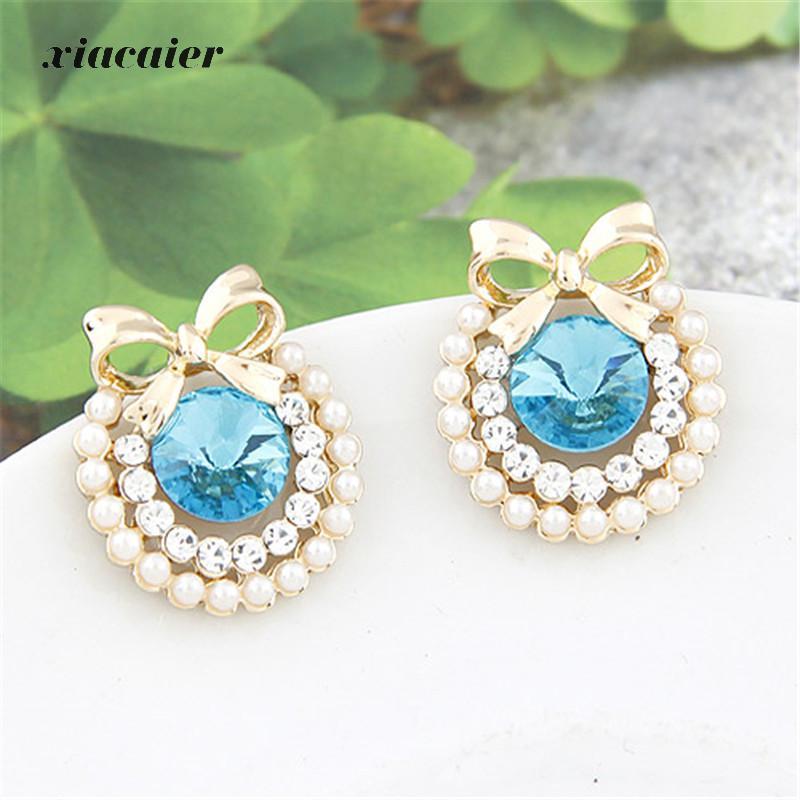 97b31271e Xiacaier Rhinestone Bow Earrings For Women Fashion Jewelry Stud Earrings  Brincos Gold Color Pending Bijoux Femme K-pop Free Ship